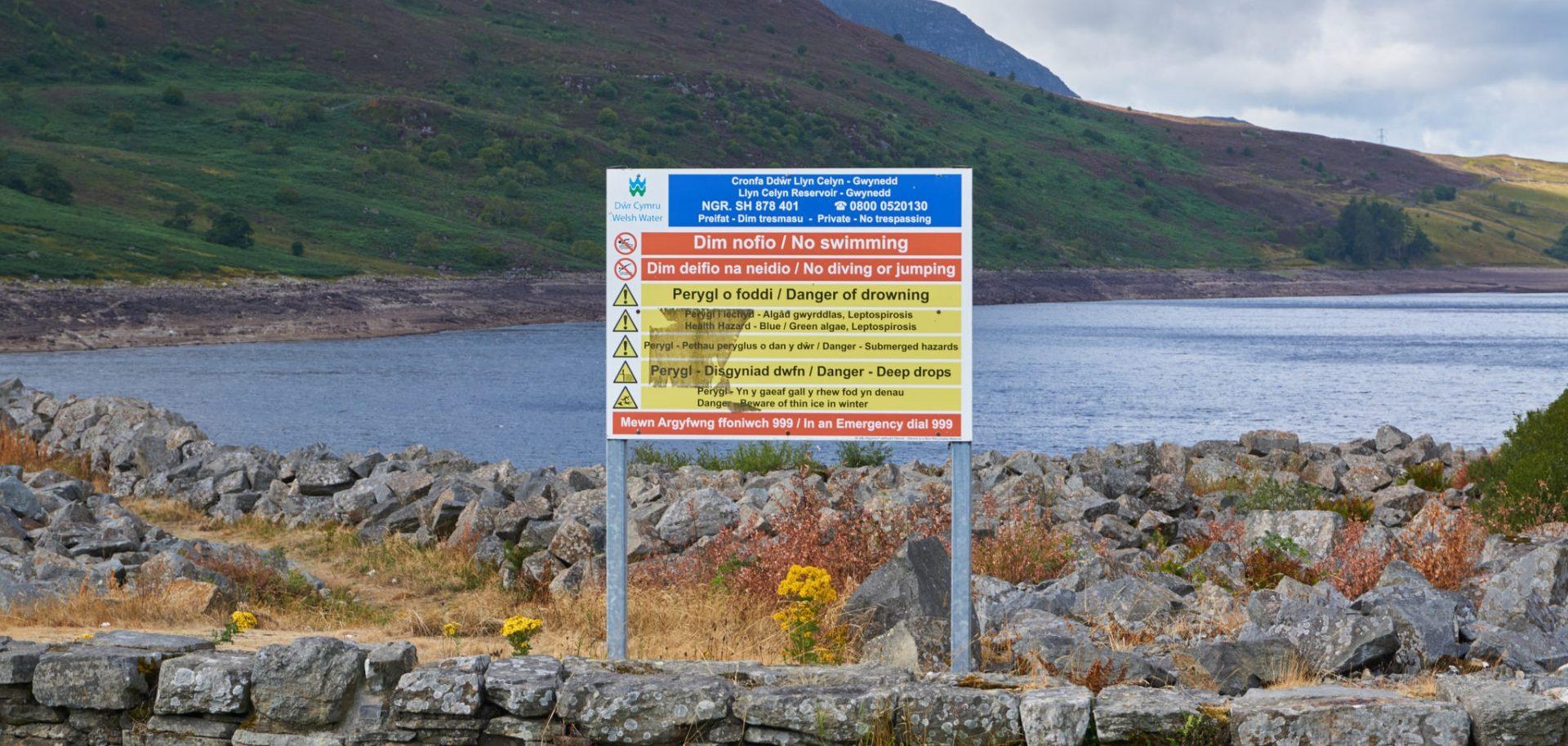 Warning signs at Afon Tryweryn